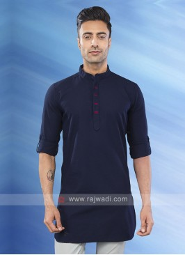 solid navy blue color kurta