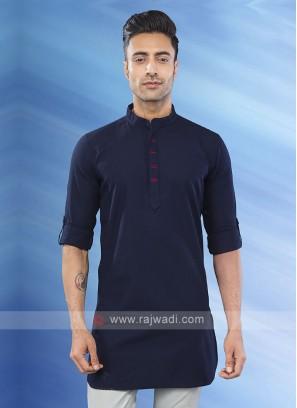 solid navy blue color kurta