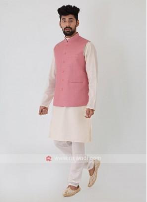 Solid Onion Pink Nehru Jacket Set