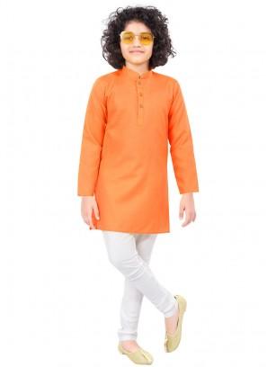 Solid Orange Color Kurta Pajama