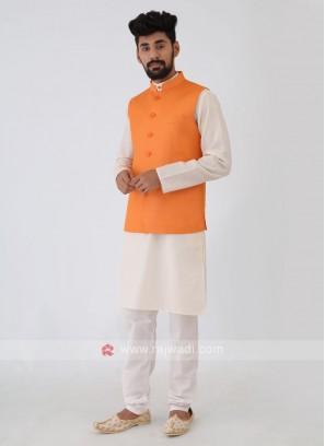 Solid Orange Nehru Jacket Suit