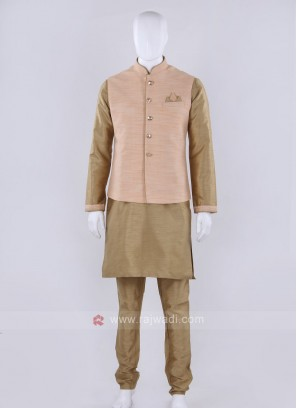 Solid peach color nehru jacket
