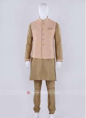 Solid peach color nehru jacket