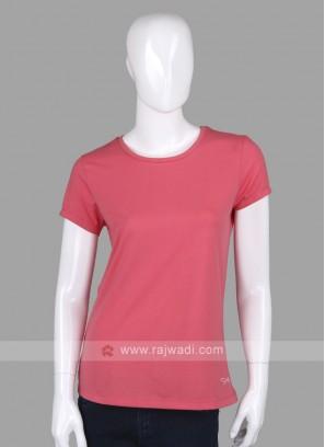 Solid Peach Round Neck T-shirt