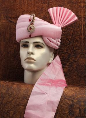 Solid Pink Art Silk Turban