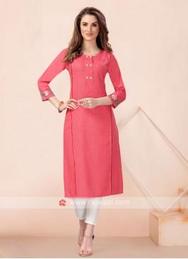 Solid Pink Cotton Kurti