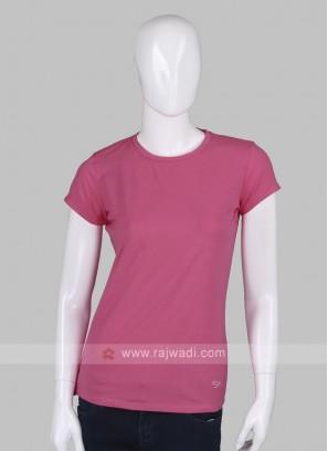 Solid Pink Round Neck T-shirt
