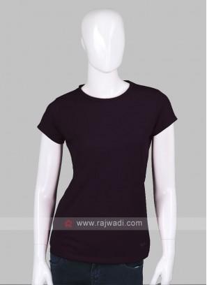 Solid Purple Round Neck T-shirt