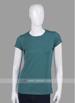 Solid Rama Green Round Neck T-shirt