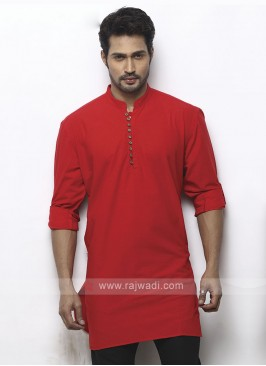 solid red color kurta