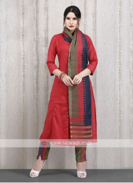 solid red kurti with multi color pant