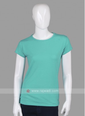 Solid Sea Green Round Neck T-shirt