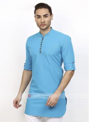 solid sky blue color kurta