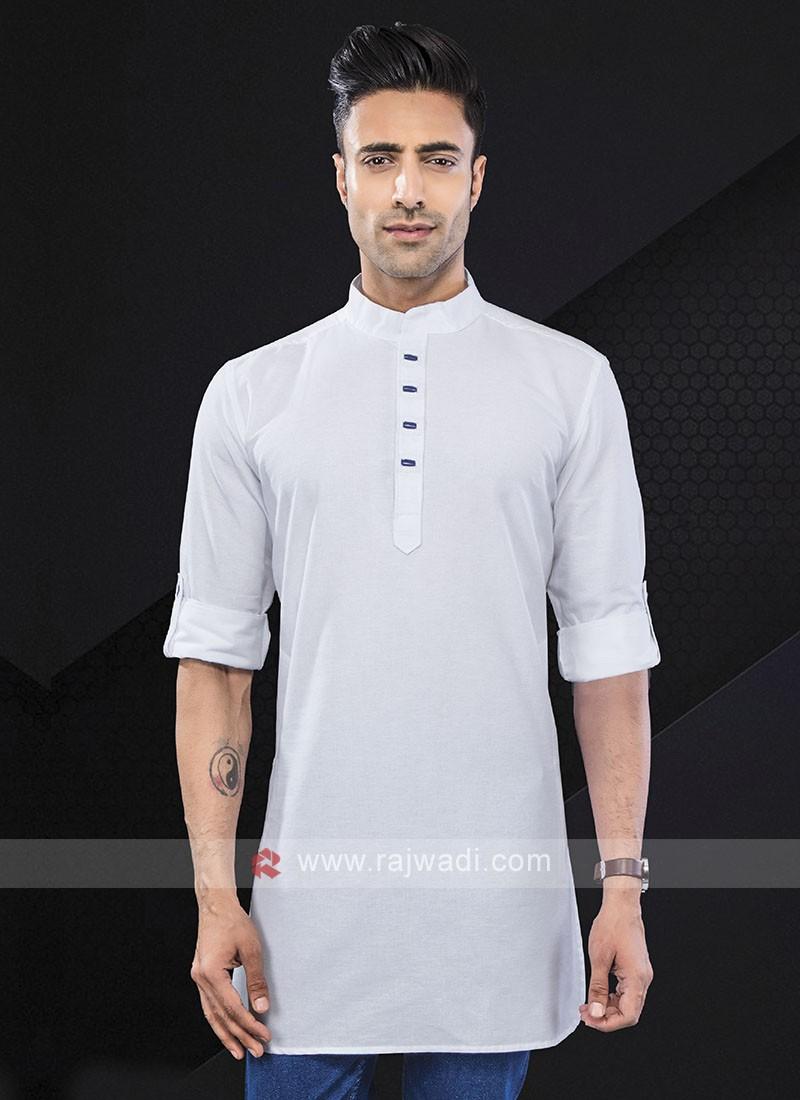 solid white color kurta