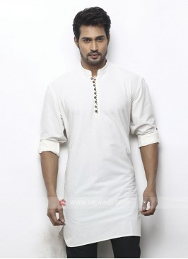 solid white color kurta