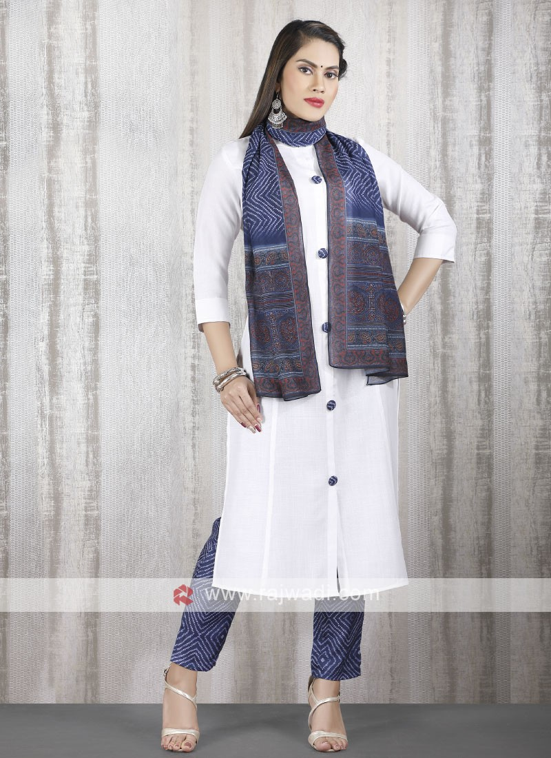 Solid white kurti with blue bottom