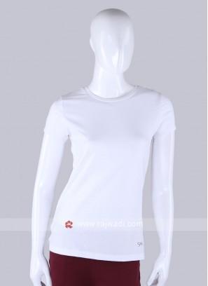 Solid White Round Neck T-shirt