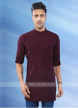 solid wine color kurta