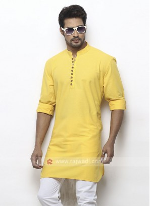 solid yellow color kurta
