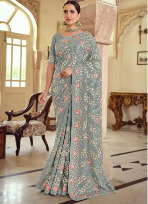 Sophisticated Georgette Satin Embroidered Grey Trendy Saree