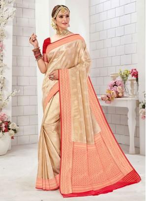 Sophisticated Golden Cream And Red Color Banarasi Silk Saree