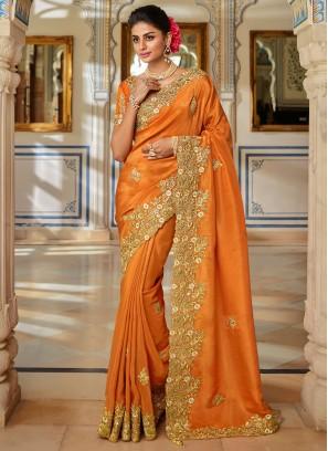 Sorcerous Fancy Fabric Patch Border Orange Designer Traditional Saree