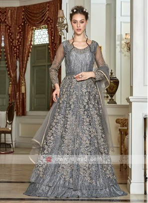 sparkling grey net salwar suit