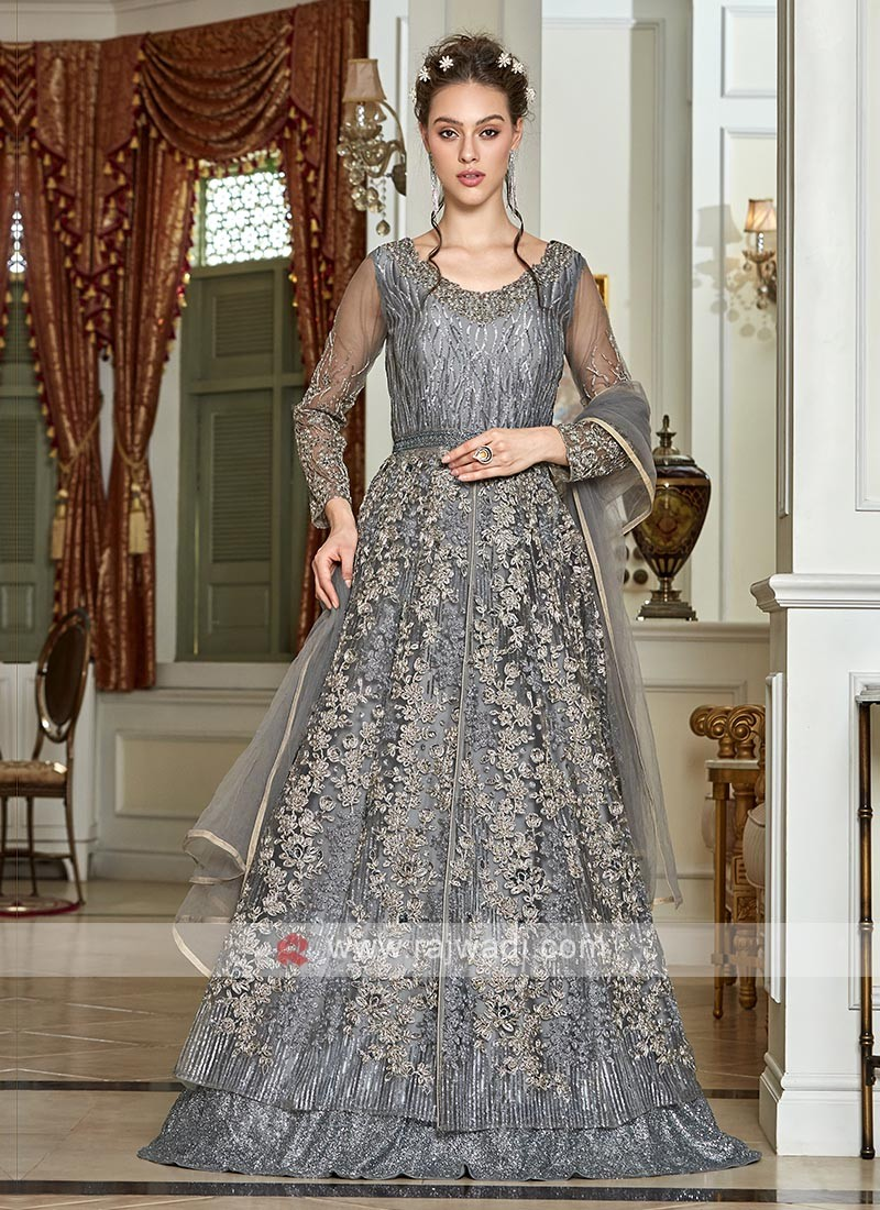 sparkling grey net salwar suit