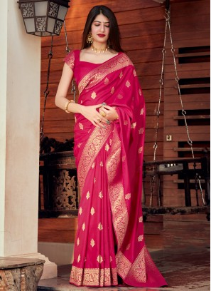 Sparkling Silk Rani Woven Traditional Designer Saree