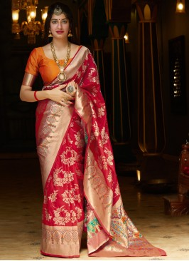 Sparkling Weaving Red Bollywood Saree