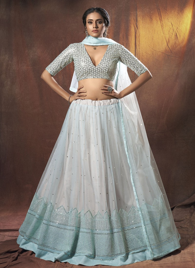 Specialised Net Sequins Blue Lehenga Choli