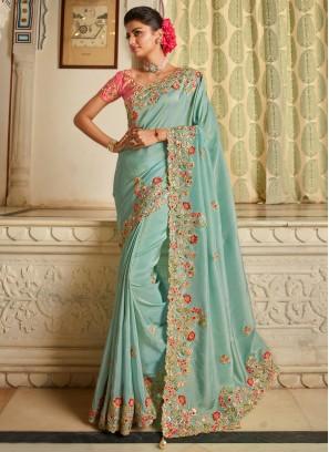 Splendid Blue Patch Border Fancy Fabric Traditional Designer Saree