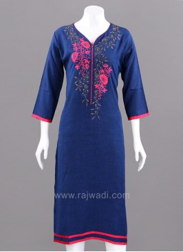 Stand Neck Embroidered Kurti
