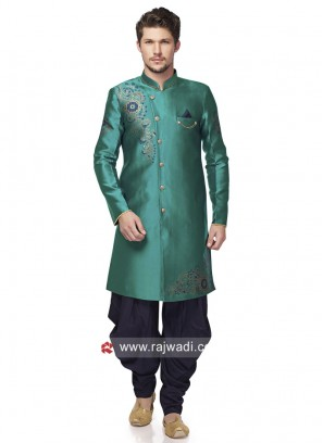 Stand Neck Peacock Blue Patiala Suit