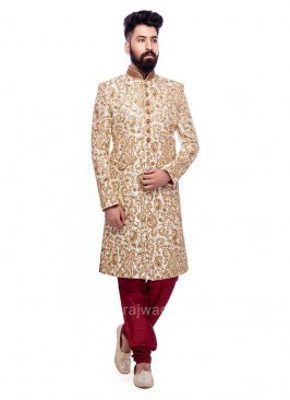 Stand Neck Embroidered Sherwani
