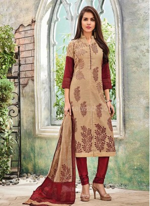 Stand Neck Front Slit Cut Churidar Suit