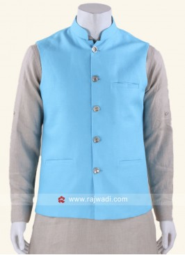 Stand Neck Koti In Aqua Color