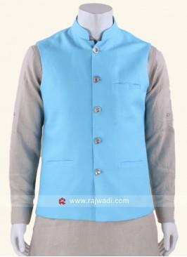 Stand Neck Nehru Jacket In Aqua Color