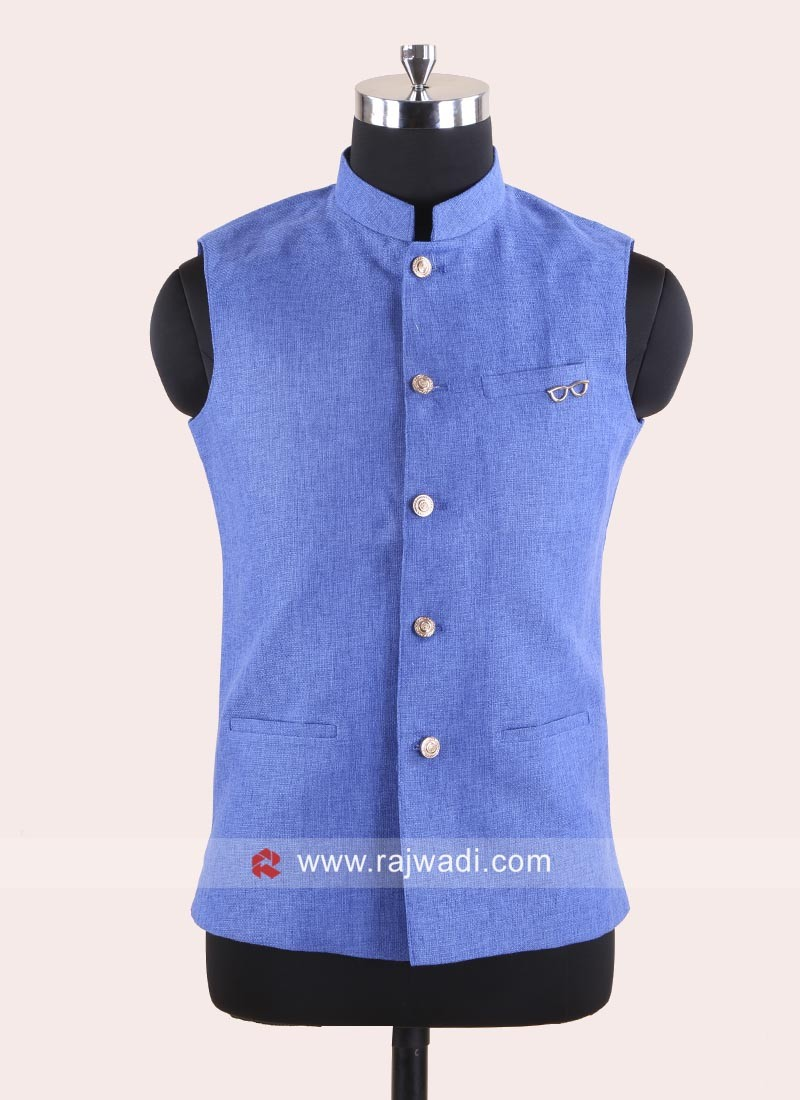 Stand Neck Koti In Royal Blue
