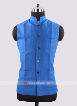Stand Neck Koti In Royal Blue Color