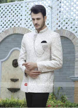 Jacquard Silk Off White Jodhpuri Set
