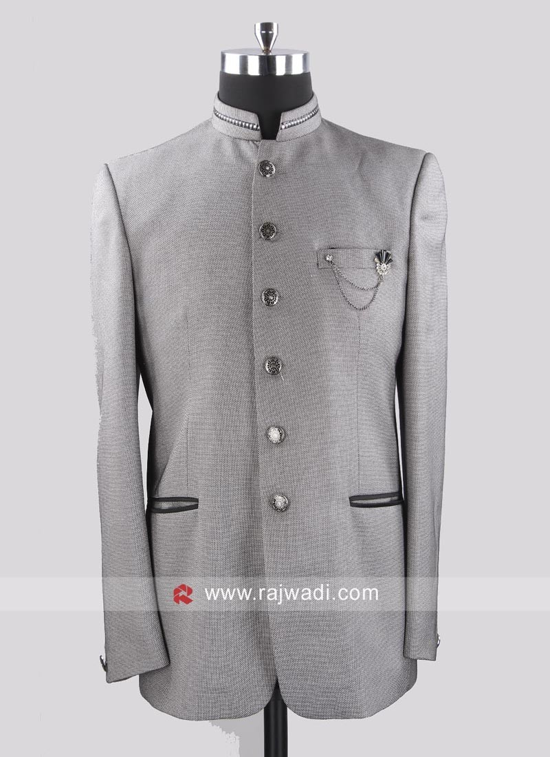 Stand Neck Pale Grey Jodhpuri Set