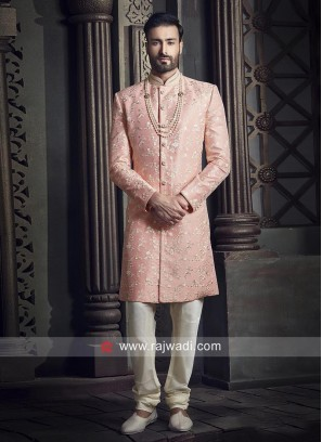 Stand Neck Pink Color Indo Western Sherwani