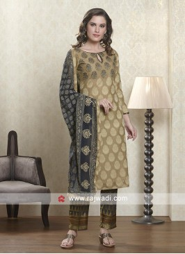 Steel blue and cream color salwar suit