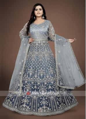 Steel Blue Color Anarkali Suit with dupatta