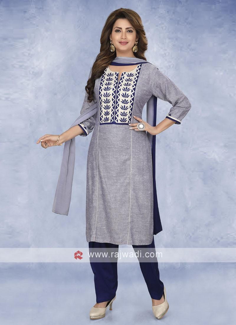 Steel Blue Color Cotton Salwar Kameez