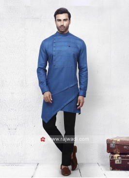 Steel Blue Color Pathani Set For Party