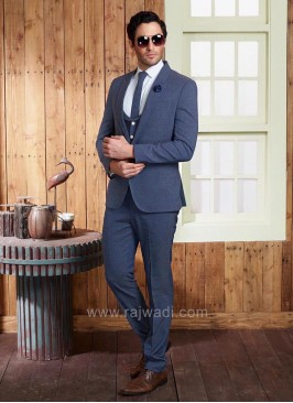 Steel Blue Suit With Matching Trouser Material