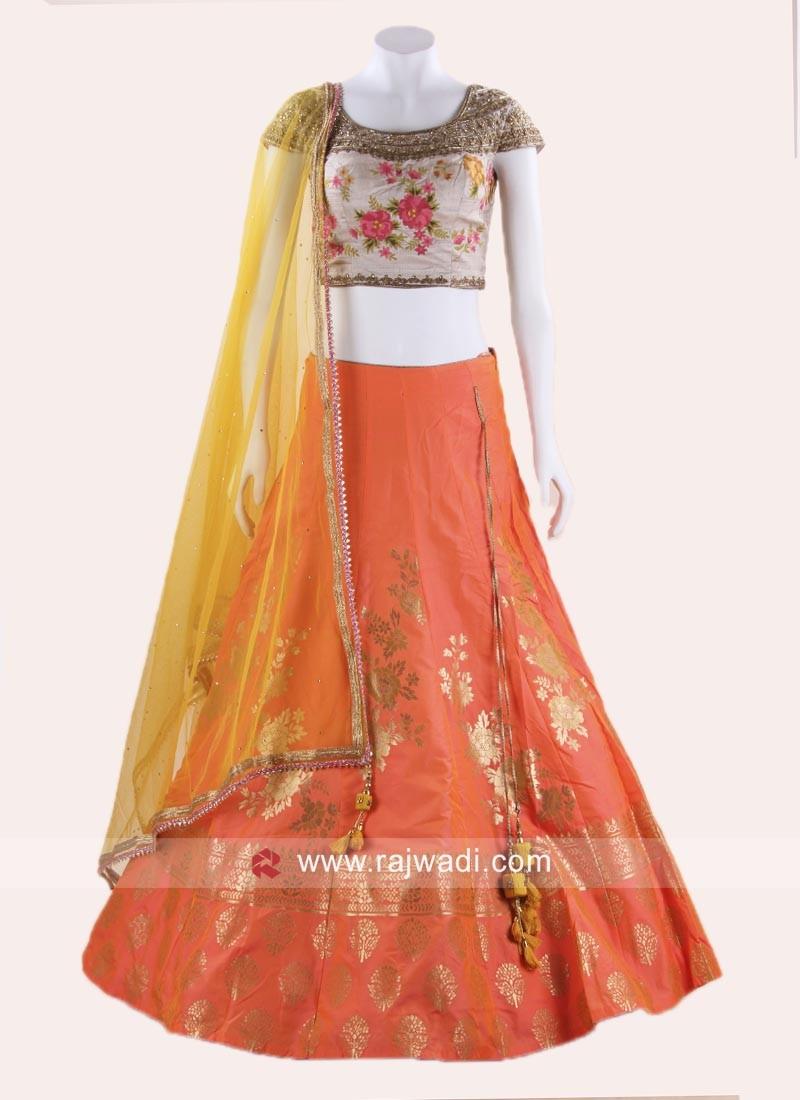241f21b70762a7 Stitched Raw Silk Lehenga Choli. Hover to zoom