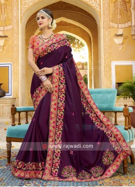 Stone and Beads Work Saree